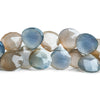Blue & Orange Chalcedony Faceted Heart Beads 8 inch 39 pieces