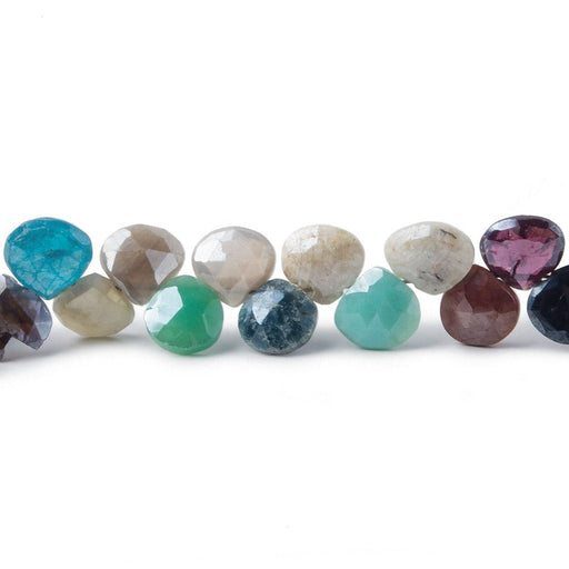 6x6mm Mystic Multi-Gemstone faceted hearts 56 pieces 8 inch