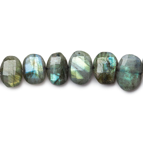 Top quality 8x7-14x9mm Labradorite side drilled faceted oval cushions 5.5 inch 17 beads - Buy From The Bead Traders Online Store