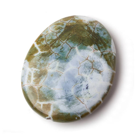53x43x10mm Icelandic Green Crackled Agate polished nugget focal 1 bead