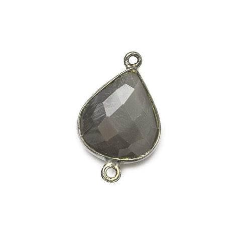 Black Gold .925 Bezel Platinum Grey Moonstone faceted pear Connector 1 piece