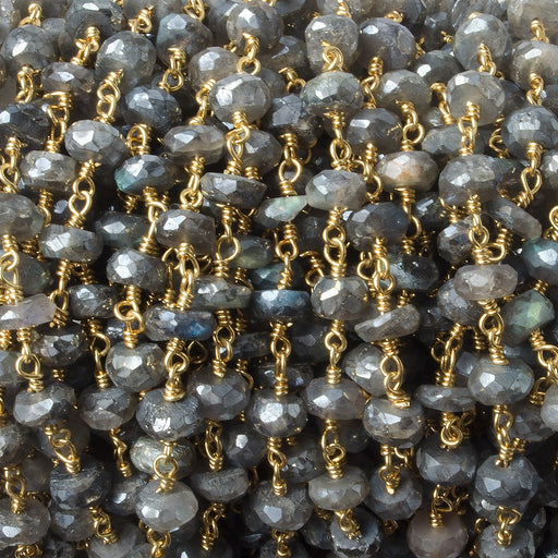 7mm Mystic Labradorite Gold plated Chain by the foot 28 beads