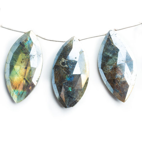 40mm Mystic Labradorite Faceted Marquise Beads 8.5 inch 9 pieces