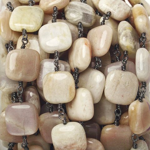 12mm Sunstone plain cushion Black Gold Chain by the foot 16 beads