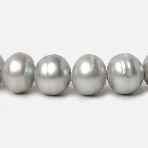 11.5-12mm Silver Ringed Baroque Large Hole pearls 8 inch 18 pieces