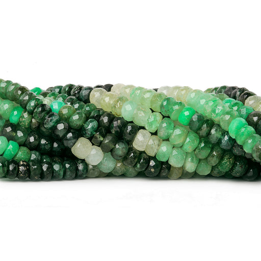4-5mm Shaded Emerald faceted rondelles 16 inch 129 beads