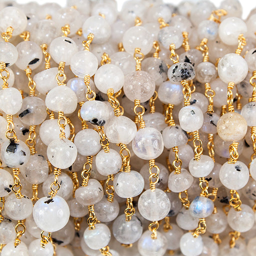 Dalmation Rainbow Moonstone round Gold Rosary Chain by the foot 33 beads