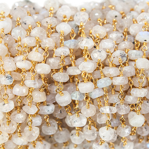 Rainbow Moonstone faceted rondelle Gold Rosary Chain by the foot 35 beads