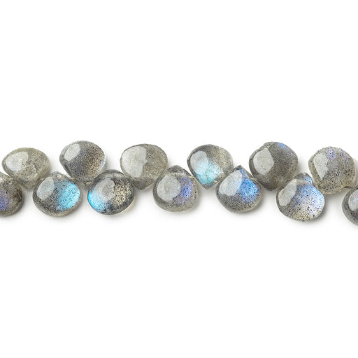 5x5-6.5x6.5mm Labradorite plain heart beads 7.5 inches 50 pieces