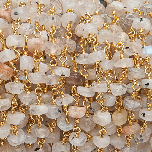 3.5-4mm MultiGemstone Gold Wire Wrapped Rosary Chain by the foot