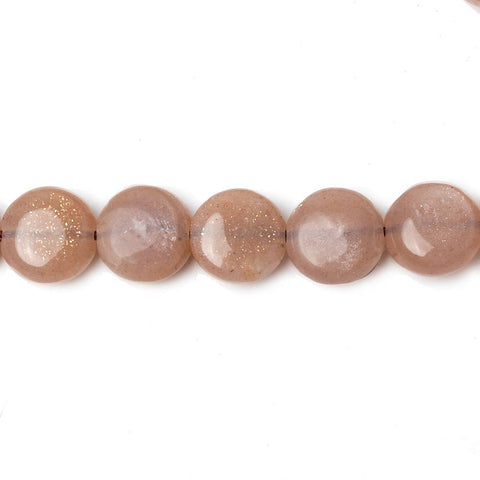 8mm Peachy Brown Moonstone Plain Coins 16 inch 50 beads AA