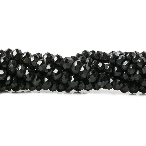 3-3.5mm Black Spinel Faceted Rondelle Beads 14 inch 175 pieces