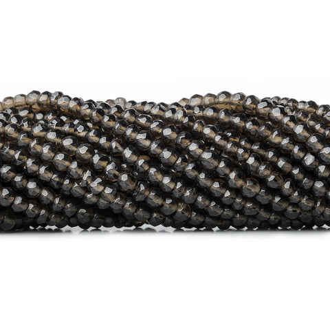 4mm Dark Smoky Quartz native faceted rondelles 13 inch 100 beads
