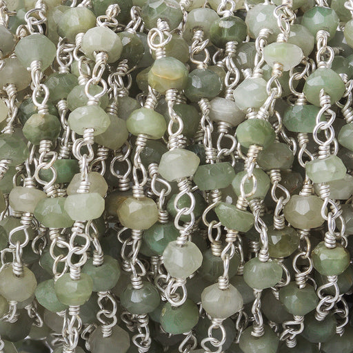 3.5-4mm Cat's Eye Green Quartz Silver plated Chain by the foot