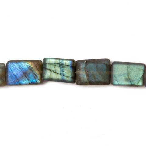 Matte Labradorite plain rectangle beads 7 inch 18 beads 7x9-7x10mm