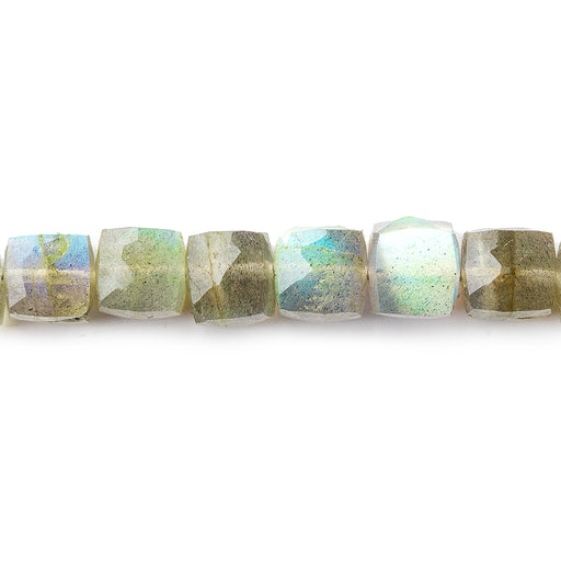 6mm Olive Green Labradorite faceted cubes 8 inch 32 beads
