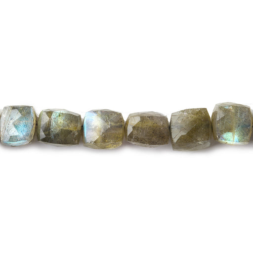 7-8mm Labradorite faceted cubes 8 inch 25 beads