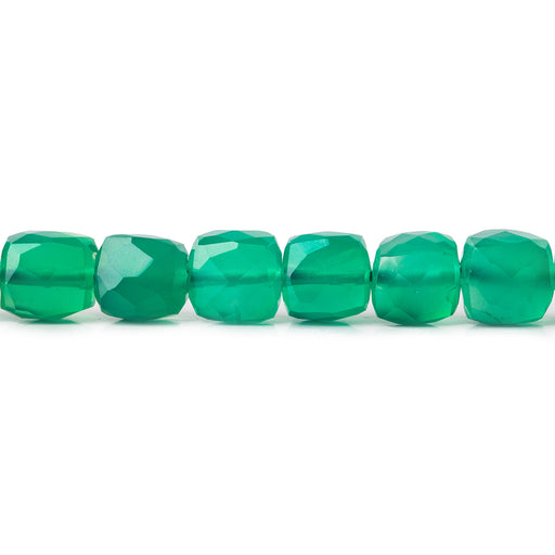 6mm Green Onyx faceted cubes 8 inch 30 beads