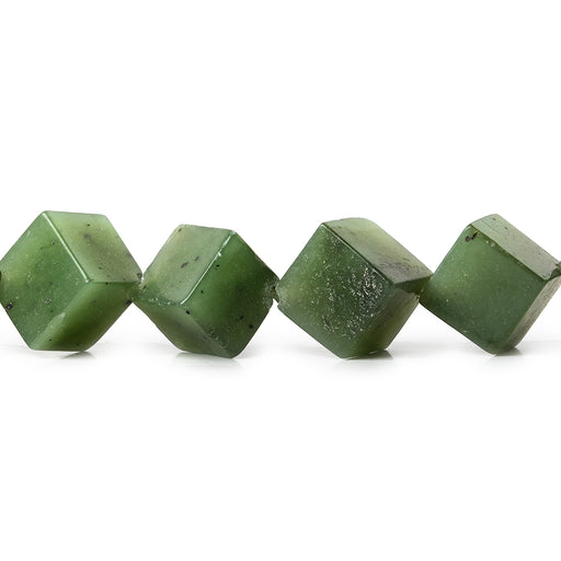 9-10mm Nephrite corner drilled plain cube beads 16 inch 30 pieces
