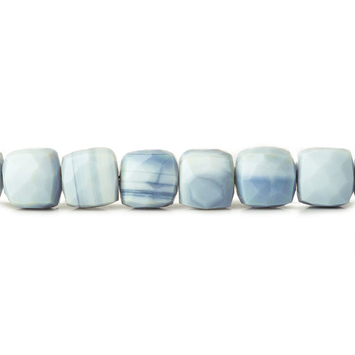 6.5-7.5mm Owyhee Blue Opal faceted cubes 8 inch 27 beads