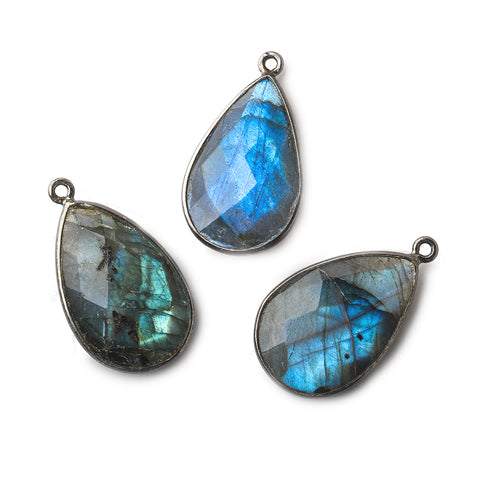 26x17mm Black Gold .925 Silver Bezeled Labradorite faceted Pear Pendant 1 piece