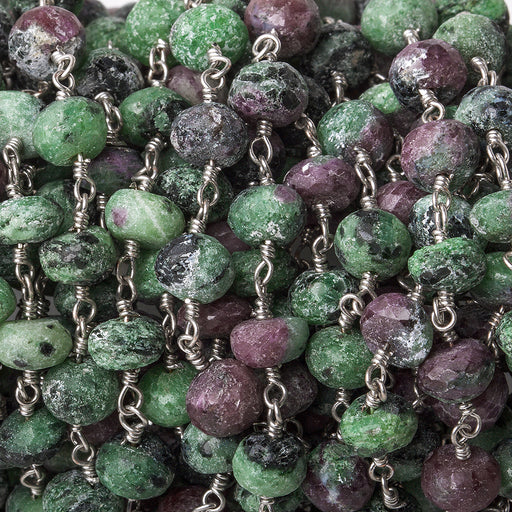 6.5mm Matte Ruby in Zoisite faceted rondelle Silver Chain by the foot 29 pieces