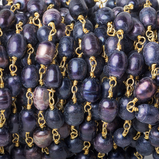 4x6-5x6mm Matte Shaded Violet oval freshwater pearl Gold Chain by the foot 28 pcs
