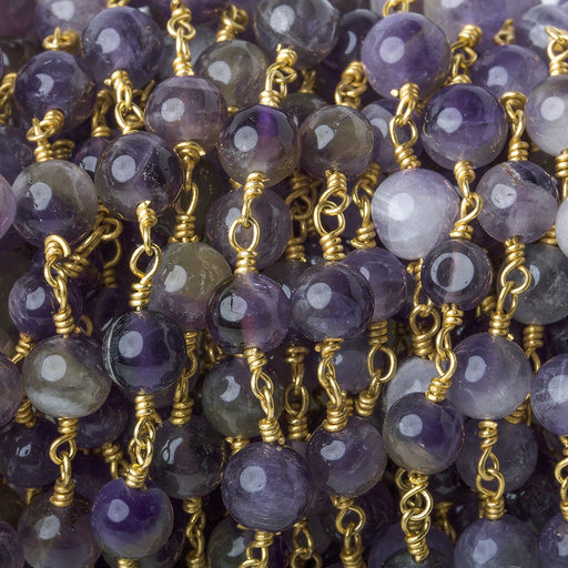 5-5.5mm Shaded Cape Amethyst plain round Gold Chain by the foot 27 pieces