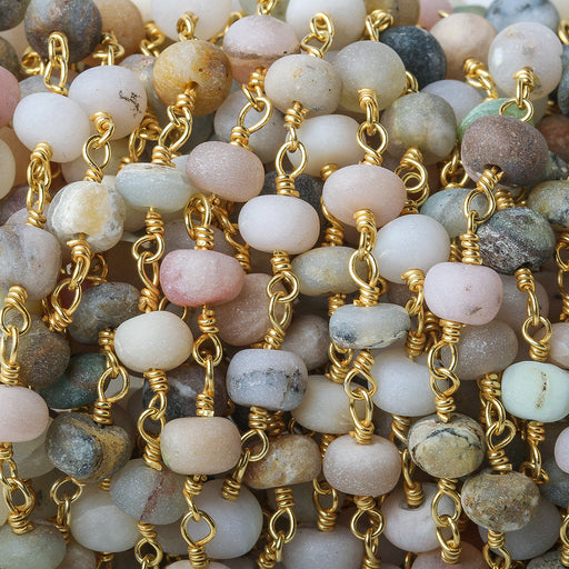 5.5-6mm Multi Color Peruvian Opal plain rondelle Gold Chain by the foot