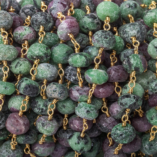 6.5mm Matte Ruby in Zoisite faceted rondelle Gold Chain by the foot 29 pieces