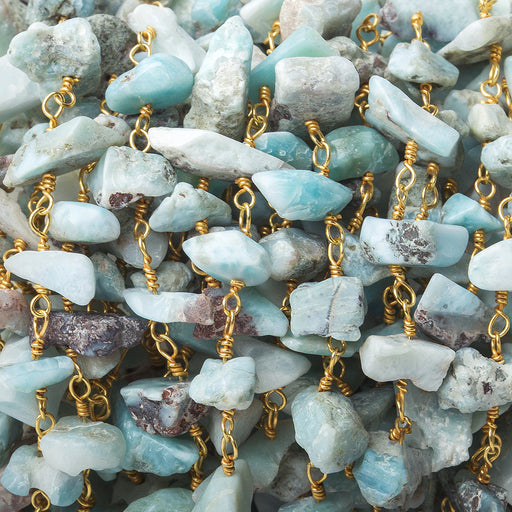 4x3-9x5mm Matte Larimar natural crystal chip Gold Chain by the foot