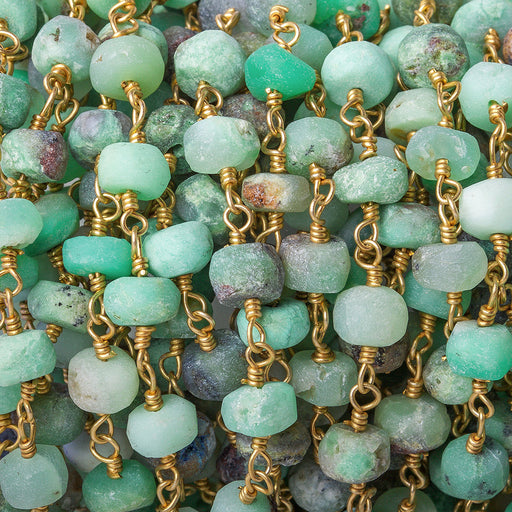 6mm Matte Chrysoprase faceted rondelle Gold Chain by the foot 32 pieces