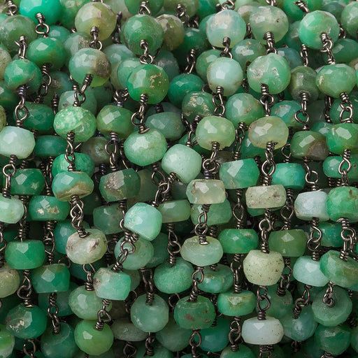 5.5mm Shaded Chrysoprase faceted rondelle Black Gold Chain by the foot 32 pieces
