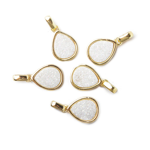 12x10mm Goldtone Bezel Mystic Pearl White Drusy Pear Pendant with Bail 1 piece