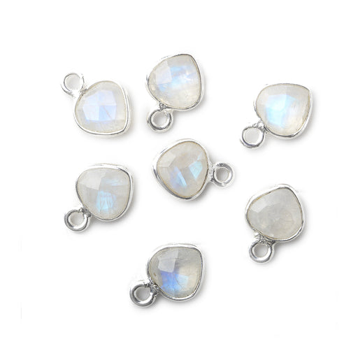 7mm Sterling .925 Silver Rainbow Moonstone Heart Pendant 1 piece