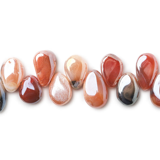 6x4-7.5x5mm Metallic MultiColor Agate plain pear beads 8 inch 53 pieces