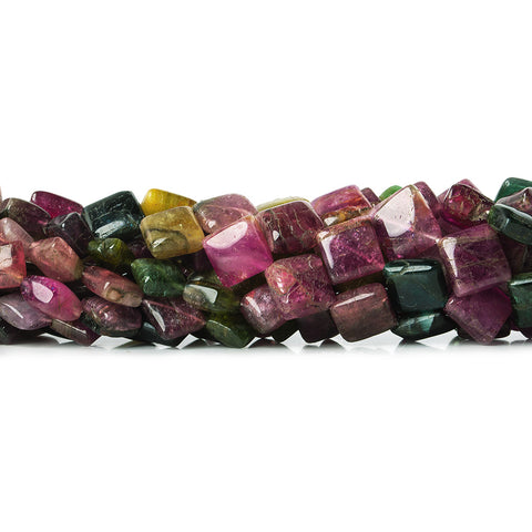 6x6-7x7mm Multi Color Tourmaline Plain Squares 47 beads 15 inch