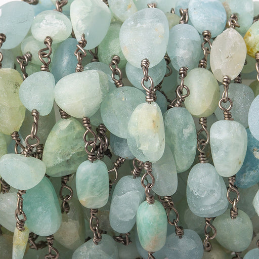 6x5-11x7mm Matte Aquamarine plain nugget Black Gold plated Chain by the foot 20 pcs