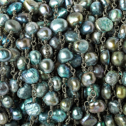 6x6mm Blue Green Peacock Baroque Pearl Black Gold plated Chain by the foot 25 pieces