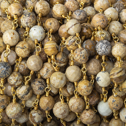6mm Picture Jasper faceted round Gold Chain by the foot 28 pieces