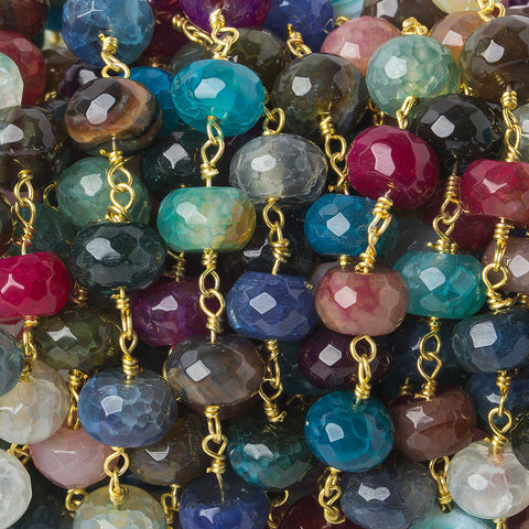 8mm Multi Color Crackled Agate faceted rondelle Gold plated Chain by the foot 25 beads