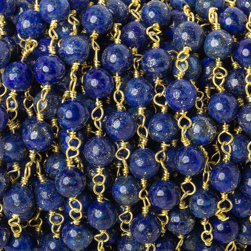 6mm Lapis Lazuli plain round Gold plated Chain by the foot 24 beads