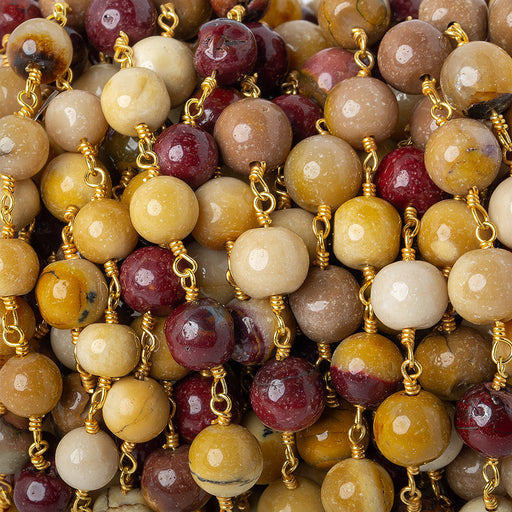 6-7mm Moukaite Jasper plain round Gold plated Chain by the foot 26 beads