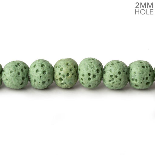 6mm Grass Green Lava Rock plain rounds 16 inch 64 beads