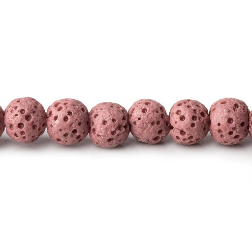 6mm Rose Pink Lava Rock plain rounds 16 inch 64 beads