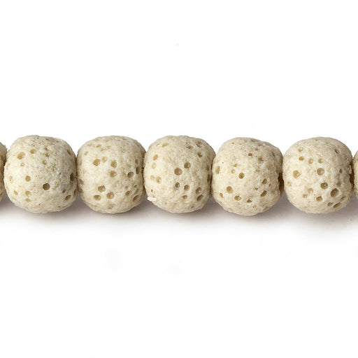 8mm Beige Off White Lava Rock plain rounds 16 inch 51 beads