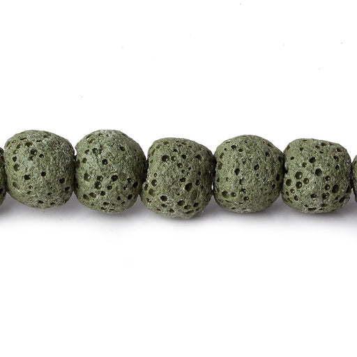 8mm Moss Green Lava Rock plain rounds 16 inch 51 beads