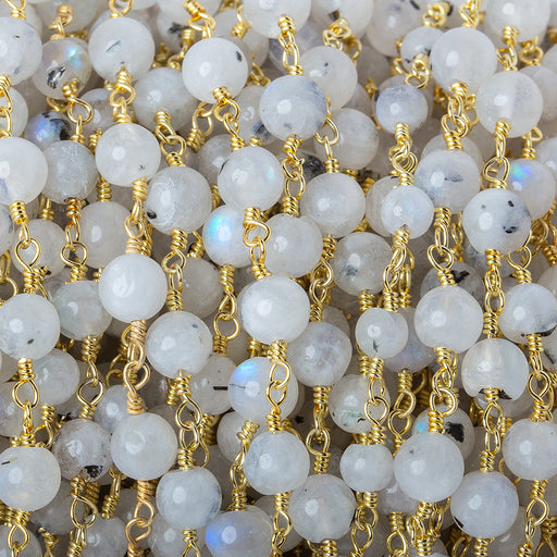 6mm Rainbow Moonstone plain round 22kt Gold plated Chain by the foot 24 beads