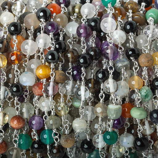 4mm Multi Gemstone plain round Silver plated Chain by the foot 31 beads