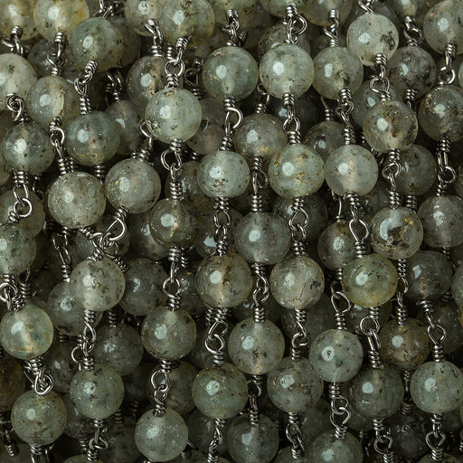 5.5mm Moss Aquamarine plain round Black Gold plated Chain by the foot 24 beads